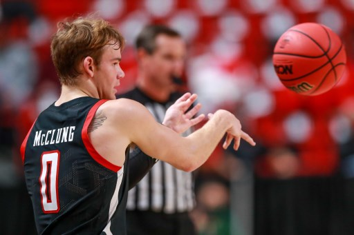 Guard Mac McClung #0 of the Texas Tech Red Raiders inbounds the ball. John E. Moore III/Getty Images/AFP