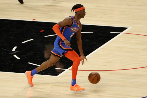Shai Gilgeous-Alexander #2 of the Oklahoma City Thunder on January 22, 2021 in Los Angeles, California.   Katelyn Mulcahy/Getty Images/AFP