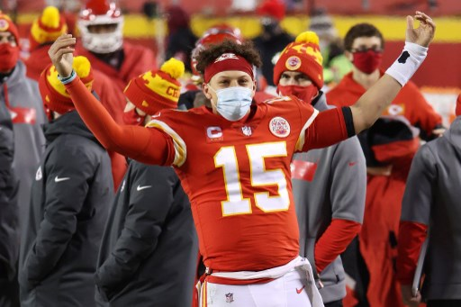 Patrick Mahomes #15 of the Kansas City Chiefs celebrates. Jamie Squire/Getty Images/AFP
