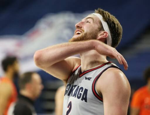 Drew Timme #2 of the Gonzaga Bulldogs reacts after drawing a foul. William Mancebo/Getty Images/AFP