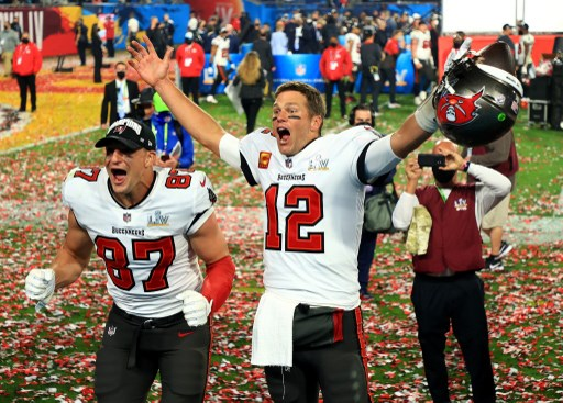 Tampa Bay Buccaneers celebrate after defeating the Kansas City Chiefs in Super Bowl LV. Mike Ehrmann/Getty Images/AFP