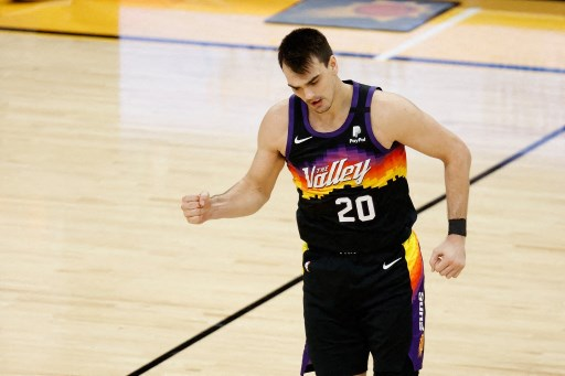 Dario Saric #20 of the Phoenix Suns on February 13, 2021 in Phoenix, Arizona.  Christian Petersen/Getty Images/AFP