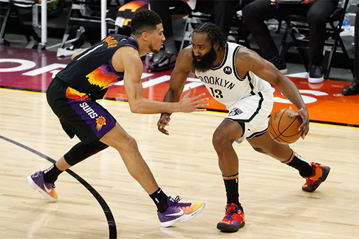 James Harden #13 of the Brooklyn Nets drives the ball. Christian Petersen/Getty Images/AFP