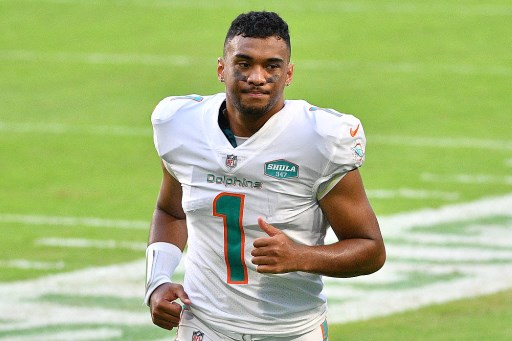 Tua Tagovailoa #1 of the Miami Dolphins.  Mark Brown/Getty Images/AFP