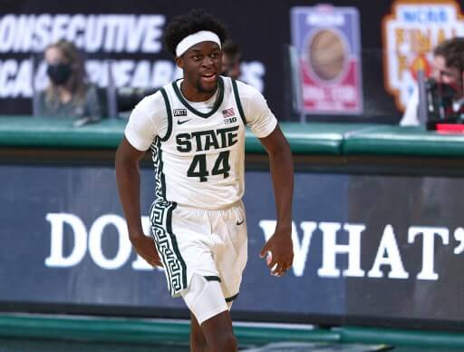 Gabe Brown #44 of the Michigan State Spartans celebrates his three point basket. Rey Del Rio/Getty Images/AFP