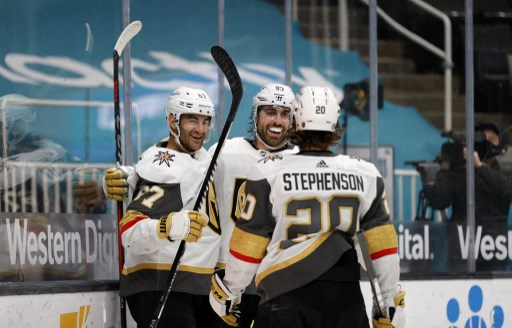 Alex Tuch #89 of the Vegas Golden Knights is congratulated. Ezra Shaw/Getty Images/AFP