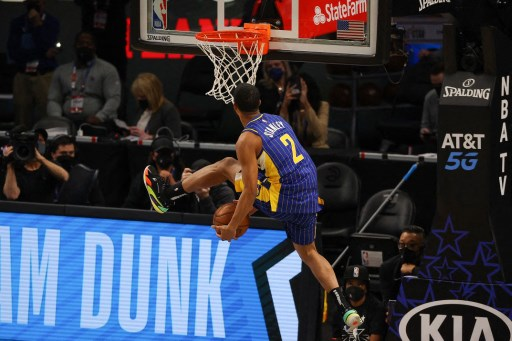 Cassius Stanley of the Indiana Pacers competes in the 2021 NBA All-Star - Slam Dunk Contest. Kevin C. Cox/Getty Images/AFP