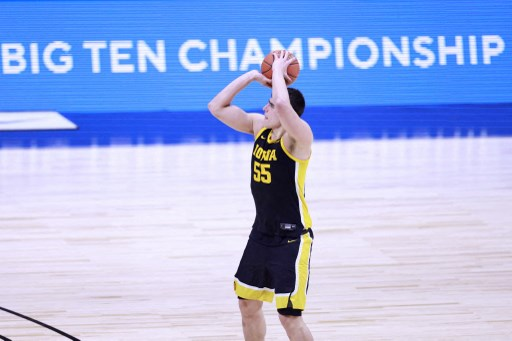 Luka Garza #55 of the Iowa Hawkeyes on March 13, 2021 in Indianapolis, Indiana.   Justin Casterline/Getty Images/AFP