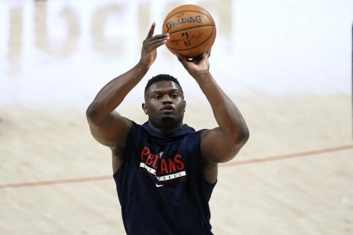 Zion Williamson #1 of the New Orleans Pelicans on March 18, 2021 in Portland, Oregon.  Steph Chambers/Getty Images/AFP