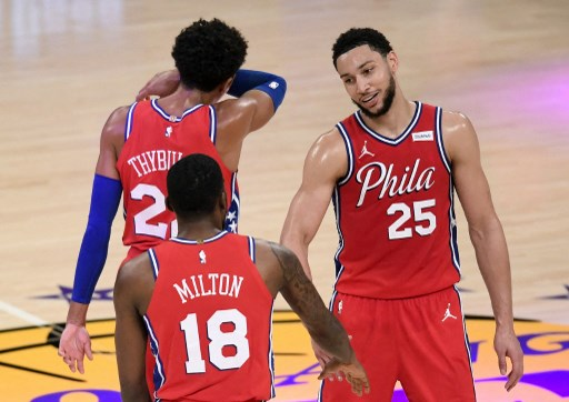 Ben Simmons #25 of the Philadelphia 76ers celebrates. Harry How/Getty Images/AFP