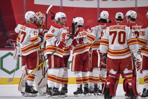 he Calgary Flames celebrate a victory against the Montreal Canadiens. Minas Panagiotakis/Getty Images/AFP