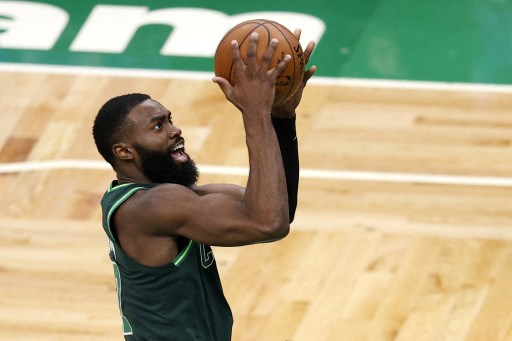 Jaylen Brown #7 of the Boston Celtics on March 31, 2021 in Boston, Massachusetts.   Maddie Meyer/Getty Images/AFP