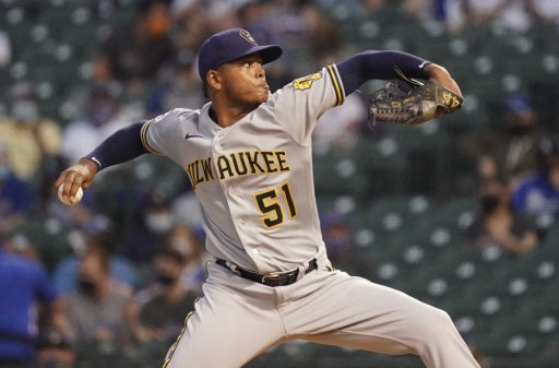 Freddy Peralta #51 of the Milwaukee Brewers on April 06, 2021 in Chicago, Illinois.   Nuccio DiNuzzo/Getty Images/AFP