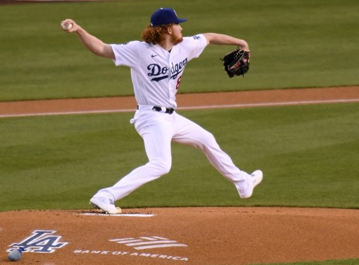Dustin May #85 of the Los Angeles Dodgers on April 14, 2021 in Los Angeles, California.   Harry How/Getty Images/AFP