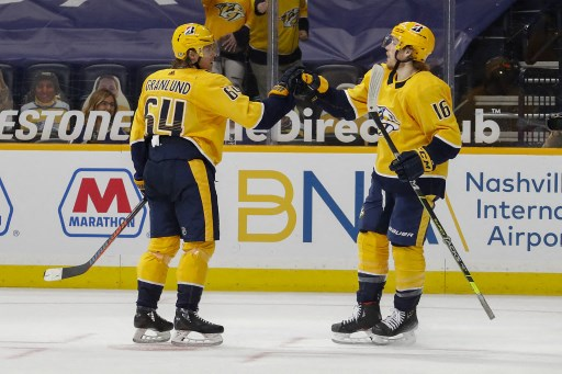 Mikael Granlund #64 of the Nashville Predators on April 13, 2021 in Nashville, Tennessee.   Frederick Breedon/Getty Images/AFP
