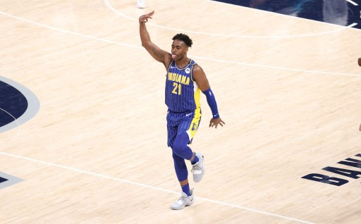 Kelan Martin #21 of the Indiana Pacers on May 18, 2021 in Indianapolis, Indiana.    Andy Lyons/Getty Images/AFP