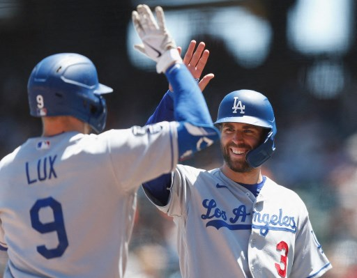 Gavin Lux #9 of the Los Angeles Dodgers celebrates with teammate Chris Taylor #3. Lachlan Cunningham/Getty Images/AFP