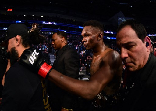 Israel Adesanya at T-Mobile Arena on March 07, 2020 in Las Vegas, Nevada.   Harry How/Getty Images/AFP