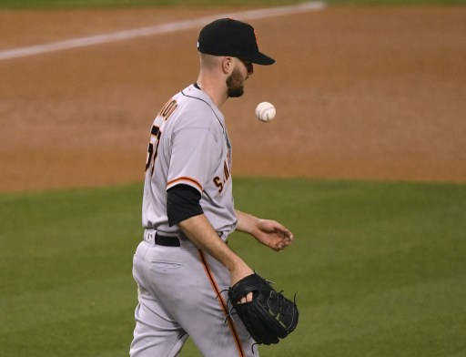 Alex Wood #57 of the San Francisco Giants on May 27, 2021 in Los Angeles, California.   Harry How/Getty Images/AFP
