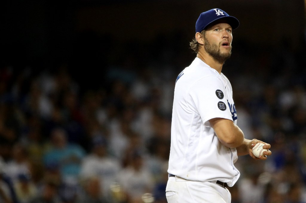 Clayton Kershaw #22 of the Los Angeles Dodgers on June 16, 2021 in Los Angeles, California.   Katelyn Mulcahy/Getty Images/AFP