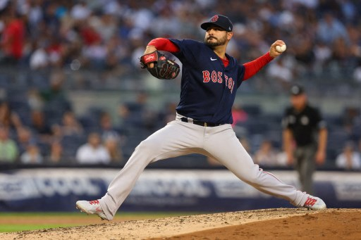 Martín Pérez #54 of the Boston Red Sox on July 18, 2021 in New York City.   Rich Schultz/Getty Images/AFP