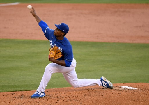 Josiah Gray #83 of the Los Angeles Dodgers pitches.  Harry How/Getty Images/AFP