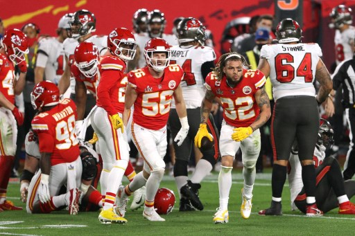 The Kansas City Chiefs on February 07, 2021 in Tampa, Florida.   Patrick Smith/Getty Images/AFP
