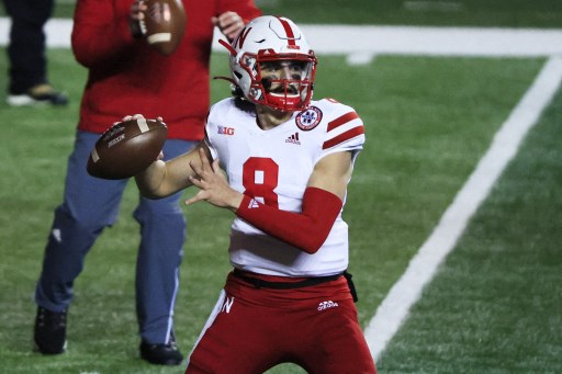 Logan Smothers #8 of the Nebraska Cornhuskers. (Photo by Corey Perrine / GETTY IMAGES NORTH AMERICA / Getty Images via AFP)