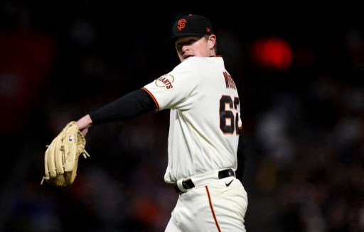 Logan Webb #62 of the San Francisco Giants on August 12, 2021 in San Francisco, California.   Jed Jacobsohn/Getty Images/AFP