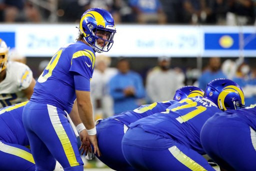 Devlin Hodges #19 of the Los Angeles Rams looks on. Katelyn Mulcahy/Getty Images/AFP