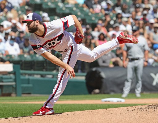 Starting pitcher Lucas Giolito #27 on August 15, 2021 in Chicago, Illinois.   Jonathan Daniel/Getty Images/AFP