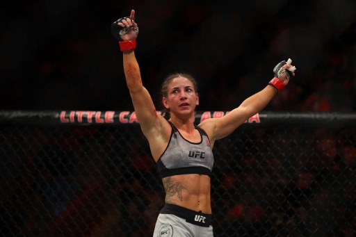 Tecia Torres celebrate her victory. Gregory Shamus/Getty Images/AFP