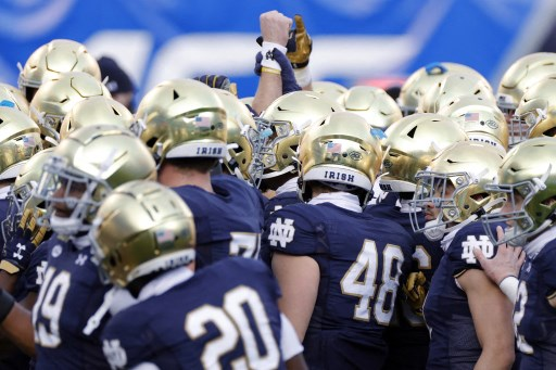 The Notre Dame Fighting Irish huddle before the ACC Championship game on December 19, 2020. Jared C. Tilton/Getty Images/AFP