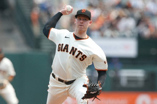Anthony DeSclafani #26 of the San Francisco Giants.   Lachlan Cunningham/Getty Images/AFP