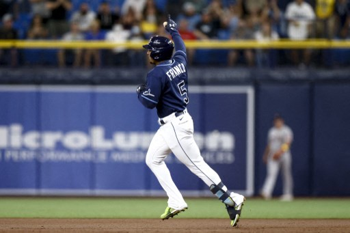 Wander Franco #5 of the Tampa Bay Rays. Douglas P. DeFelice/Getty Images/AFP