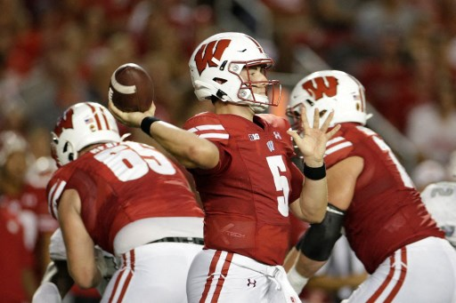 Graham Mertz #5 of the Wisconsin Badgers throws a pass. John Fisher/Getty Images/AFP