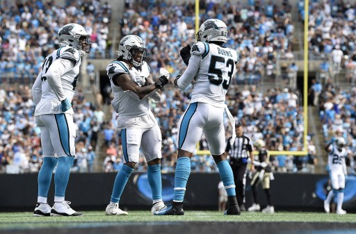 Defensive end Brian Burns #53 of the Carolina Panthers celebrates. Mike Comer/Getty Images/AFP