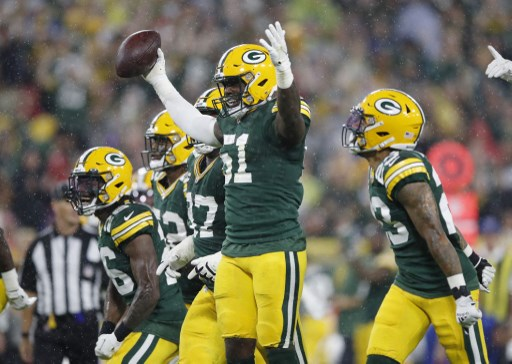 Krys Barnes #51 of the Green Bay Packers celebrates. Wesley Hitt/Getty Images/AFP