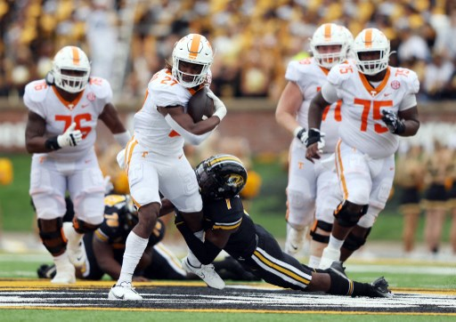 Running back Len'Neth Whitehead #27 of the Tennessee Volunteers carries the ball.  Jamie Squire/Getty Images/AFP
