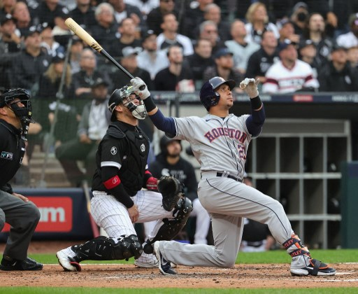 Michael Brantley #23 of the Houston Astros bats against the Chicago White Sox during game 4 of the ALDS. Jonathan Daniel/Getty Images/AFP